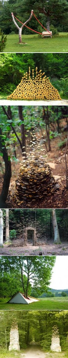 German artist Cornelia Konrads favorite creation in the woods, the theme is always: time and disappearance of gravity stationary. I love the environmental art. Land Art, Instalation Art, Outdoor Art, Environmental Art, Public Art, Belle Photo, Garden Art, Garden Junk, Garden Tools