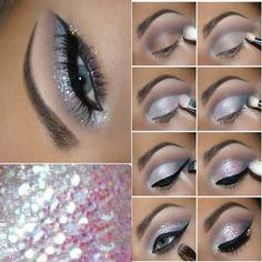 Motives® Eye Base - Single Jar g) Silver Eye Makeup, Dramatic Eye Makeup, Eye Makeup Steps, Smokey Eye Makeup, Eyeshadow Makeup, Makeup For Silver Dress, Sparkly Eye Makeup, Glitter Makeup, Makeup Eyes