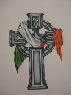 Irish Flag Tattoo On Cross Tattoo Design could be nextYou can find irish tattoos and more on our website.Irish Flag Tattoo On Cross Tattoo Design could be next Irish Celtic Tattoos, Celtic Cross Tattoo For Men, Celtic Knot Tattoo, Celtic Crosses, Irish Gaelic Tattoo, Welsh Tattoo, Scottish Tattoos, Shamrock Tattoos, Clover Tattoos