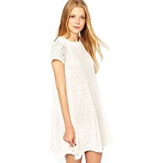 Towallmark(TM)Women Short Sleeve Lace Cocktail Party Loose Mini Dress (Asia M, White) towallmark http://www.amazon.com/dp/B00MHDF65C/ref=cm_sw_r_pi_dp_W7itub0Y3KN92