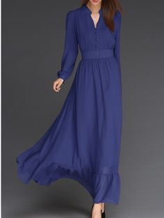 Blue Stand Collar Vintage Chiffon Dress