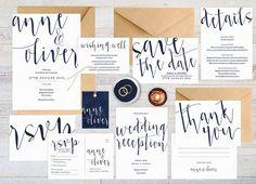 Navy wedding invitation set Wedding suite by ThePrintableShopcom