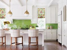 LOVE LOVE LOVE a strong colorful backsplash | Green and Pink Kitchen Designed by Katie Rosenfeld in Atlanta