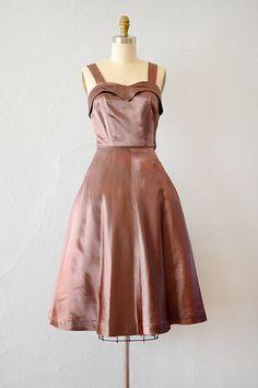 vintage 1950s mauve satin party dress