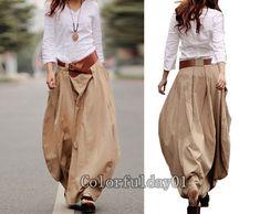 Romantic Khaki Pretty Linen Bud Long Maxi Skirt  by colorfulday01, $65.99