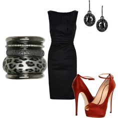 Everything about this works! Can never go wrong with black dress and red pumps