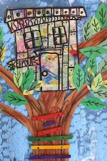 We have been really busy this week in my backyard.  We started with treehouses.  The backgrounds are a painting technique using bubble wrap.  Next we used oil pastels on brown construction paper for the trees.  We added a ladder with wooden craft sticks.  They kids designed their own tree houses and tucked them in the branches, lastly, we added green construction paper leaves with sharpie details.
