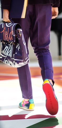 Purple print and grainy leather with mesh field sneakers - the Burberry S/S15 men's runway