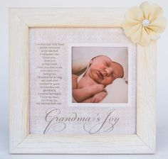 "Grandma's Joy Picture Frame with Poetry. 8"" x 8"" distressed white wood frame with silk flower accent. Grandma's Joy poem and photo opening. Great Mother's Day, Birthday, New Baby or Christmas gift. Matching brag book available in a separate listing. Also available for Gigi, Nana or Mimi in separate listings."