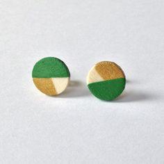 Modern Round Wood Stud Earrings