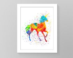 Unicorn watercolor splash art pictures poster rainbow cheerful silhouette nursery art cubicle decor trendy art home decor Wall art by GecleeArtStudio on Etsy