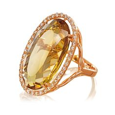 18K Rose Gold, Diamond & Citrine Ring