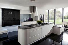 cocinas blancas negras suelo elegante