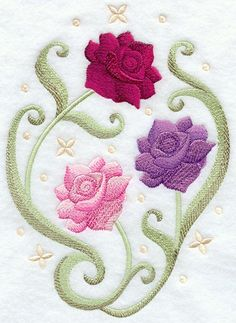 RP: Machine Embroidery: English Tea Rose Oval