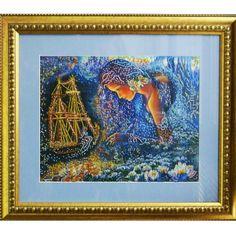 Barco de los sueños 75,00€  Descripción: Cuadro bordado con abalorios checos Preciosa y enmarcado.  Tamaño: 44*51 cm  Técnica: Bordado parcial con el punto lineal.