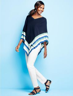 Very cute outfit.  Love the navy sandals with it.  Colorblock & Bright Stripes Poncho - Talbots
