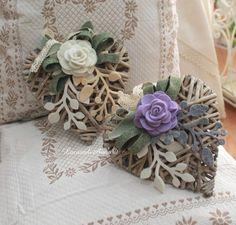Cuori feltro, stoffa e vimini - La casa di Anna feltro e fantasia