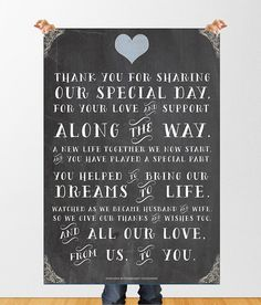 Wedding Chalkboard 'Thank You' Sign Poster by StephoneyStationery, £3.00