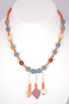 Boho Beaded Necklace MultiColor Vintage Trade by FiveLeavesFound, $32.00
