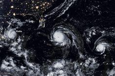 Fotonoticia: tres huracanes en línea vistos desde el espacio