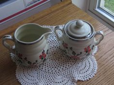 Vintage Hall China Red Poppy Sugar and Creamer by LeftoverStuff, $39.00