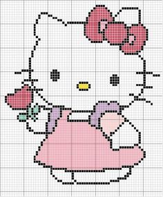Hello Kitty perler bead, cross stitch or applique pattern Cross Stitch Baby, Cross Stitch Charts, Cross Stitch Designs, Cross Stitch Patterns, Crochet Hello Kitty, Chat Hello Kitty, Cross Stitching, Cross Stitch Embroidery, Beading Patterns