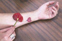 Anthurium tattoo on the inner forearm. Tattoo artist: Luiza Oliveira