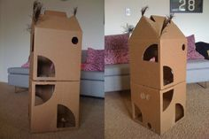 Cardboard Cat Castle | 33 Totally Do-Able D.I.Y. Projects For Your Pets
