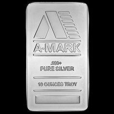 10 troy oz. A-Mark Silver Bar.  .999+ Pure. Face.