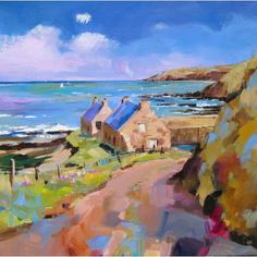 Kate Philp - Cottages at Cove Impressionist Paintings, Seascape Paintings, Landscape Paintings, Watercolor Paintings, Watercolours, Watercolor Landscape, Abstract Landscape, Building Art, Contemporary Landscape