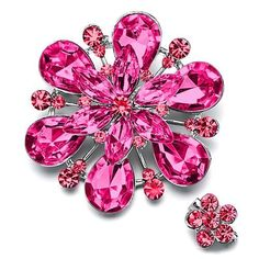 Pugster Romatic October Birthstone Pink Crystal Flower Set Brooches And Pins Pugster. $11.99. Exquisitely detailed designer style,Swarovski element crystal. One free elegant cushioned Gift box available with every order from Pugster.. Occasion: casual wear,anniversary, bridal, cocktail party, wedding. Money-back Satisfaction Guarantee. Can be pinned on your gown or fastened in your hair with bobby pins.