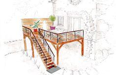Esquisse pour escalier et palier en façade