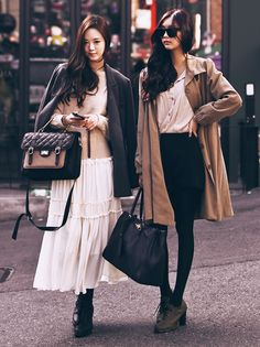 Maxi skirt + blazer and trench with A-line skirt+ pretty blouse. Paired with tights, perfect for fall.