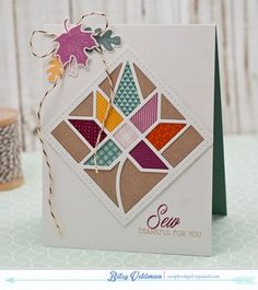 Sew Thankful Card by Betsy Veldman for Papertrey Ink (August 2015)