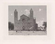 Hendrik D. Jzn Sluyter | Mariakerk te Utrecht, 1090, Hendrik D. Jzn Sluyter, 1865 - 1870 | Gezicht op de Sint Marie-Kerk, Mariakerk, te Utrecht in het jaar 1090. Op het kerkplein trekt een processie voorbij.