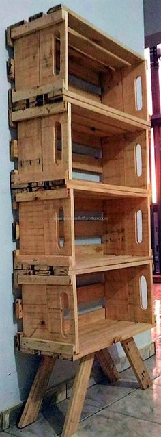 pallet fruit crates shelving #pallets #woodpallet #palletfurniture #palletproject #palletideas #recycle #recycledpallet #reclaimed #repurposed #reused #restore #upcycle #diy #palletart #pallet #recycling #upcycling #refurnish #recycled #woodwork #woodworking