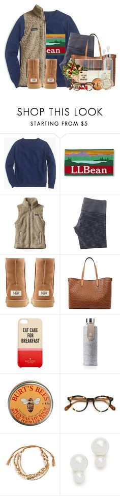 """""""Homecoming week this week!!"""" by flroasburn ❤ liked on Polyvore featuring J.Crew, L.L.Bean, Patagonia, lululemon, UGG Australia, Emilie M, Kate Spade, Equa, Madewell and Burt's Bees"""