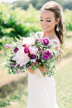 Garden style bouquet with pops of color Chateau Elan Wedding Flowers by Design House Weddings Atlanta, GA