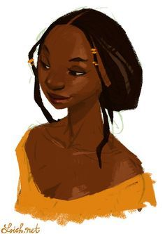 olanna - inspired by a character in a beautiful book i'm reading, half of a yellow sun. and also a bit by the beautiful author by Loish Female Character Design, Character Design References, Character Design Inspiration, Character Art, Character Illustration, Illustration Art, Loish, Black Characters, African American Art