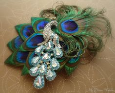 Peacock bridal headpiece. Stunning-Exquisite Peacock Feather Hair Clip. Turquoise peacock crystal brooch. -Lory- on Etsy, $79.99