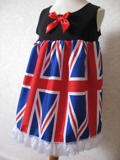 f0bf7765013909 NEW Baby Girls Blue Red White Union Jack Flag England Team GB Top Dress  Party