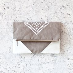 SALE Geometrical Illusion Printed  Leather Pouch  white by CORIUMI, $45.00