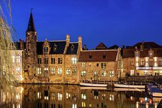 Houses By A Canal - Bruges, Belgium Print by Barry O Carroll Bruges, Belgium, Fine Art America, Mansions, House Styles, Building, Prints, Photography, Travel