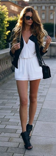 ff5ff8e5f1 Josefin Ekström is looking cute in this white romper with a black leather  jacket and shoes