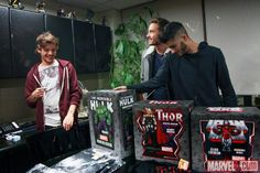 Louis, Liam and Zayn at the Marvel offices!