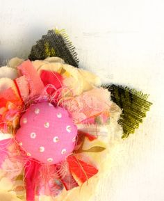 Fairy Fabric Flower Brooch --- Tattered Shabby Chic Spring --- OOAK --- By Odpaam. $21.90, via Etsy.