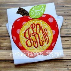 Back to School - Apple Monogram - Customized Tee Shirt - Customizable by JMehargDesigns on Etsy