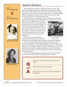 Women's History Month Second Grade History Comprehension Worksheets: Amelia Earhart Biography