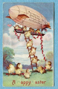 X8315 Easter Postcard, Baby Chicks Decending a Ladder from a Dirigible, Roses, #Easter