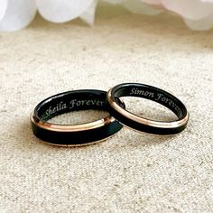 Personalized Two Tone Rose Gold Tungsten Ring Set, Black Wedding . Personalized Two Tone Rose Gold Tungsten Ring Set, Black Wedding Bands, Couples Ring Set, M Wedding Rings Sets His And Hers, Wedding Rings Simple, Unique Rings, His And Hers Rings, Vintage Engagement Rings, Diamond Engagement Rings, Halo Engagement, Engagement Rings Couple, Matching Couple Rings